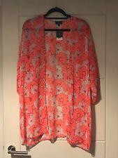 BNWT Topshop Bright Pink & White Floral Print Longline Sheer Beach Kimono Jacket