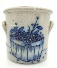 Salmon Falls Stoneware Crock 1991 Cobalt Blue Blueberry Basket EUC Side Handles