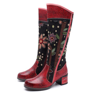 Womens Bohemian Vintage Knee High Boots Leather Splicing Tall Boots