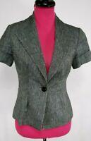 White House Black Market Size 2 Short Sleeve Blazer Jacket Gray