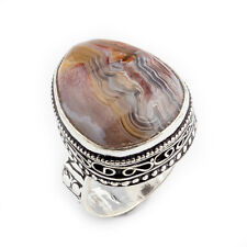Crazy Lace Agate Gemstone Handmade 925 Stamped jewelry Ring Size 8 0782