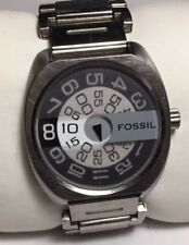 Vtg Men Fossil Watch JR8865 Silver Steel JR9371 Band Jump Hour Dial Collectible