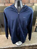 Vintage Nike Air Hooded Track Warmup Jacket Coat Mens Sz Large Blue Stripe Zip