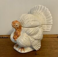 Rare vintage Fitz and Floyd Ceramic Turkey soup tureen cream color painted head