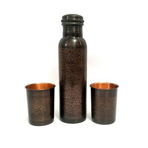 Beautiful Etching Floral Design Black Oxidized Copper Bottle With 2 Copper Glass