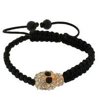 Rose Gold Tone Black White Crystals CZ Skull Beaded Adjustable Macrame Bracelet