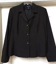 Ann Taylor Black Cotton/ Silk Blazer Jacket Size 14