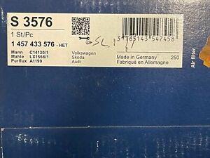 Bosch 1457433576 S3576 A1199 Air Filter fits Audi Seat Skoda VW