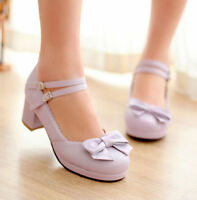 SIZE 4-11 Sweet Women Chunky Low Heel Bowknot Ankle Strap Mary Jane Shoes Pump