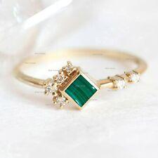 Genuine Malachite Gemstone Ring Diamond Solid 14k Yellow Gold Handmade Jewelry