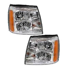 3 Cadillac Escalade Ext Right & Left Headlights Headlamps Pair Set of 2