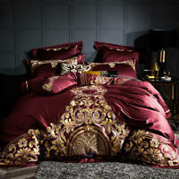 Luxury Egyptian Cotton Duvet Cover Set Pillow Bedding Set Grey King Queen Size