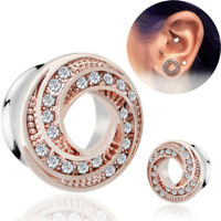 Stainless Steel Crystal Screw Ear Gauges Flesh Tunnels Plugs Stretchers`ExpandPY