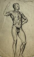 Dibujo de Pie Masculino Desnudo Firmado Kamowski Studie Um 1900