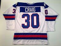 Jim Craig 1980 Miracle On Ice USA Hockey White UNSIGNED CUSTOM Jersey Size L