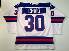 Jim Craig 1980 Miracle On Ice USA Hockey White UNSIGNED CUSTOM Jersey Size XL