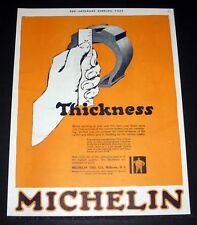1919 OLD MAGAZINE PRINT AD, MICHELIN TIRE CO, MEASURE THICKNESS OF THE RUBBER!