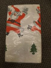 Lovely Vtg Winter Holiday XMas Whimsy Retro Santa Paper Tablecloth 54x98 NEW NOS