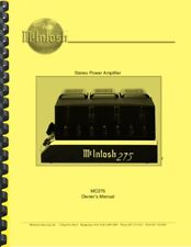 McIntosh MC275 Tube Amplifier OWNER'S MANUAL and SERVICE MANUAL