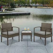 3 PCS Outdoor Patio Rattan Wicker Furniture Set Table Sofa Cushioned Deck Grey