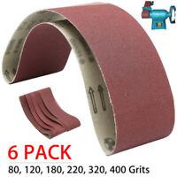 6PCS/SET 4x36 Aluminum Oxide Metal Sanding Belts 80,120,180,220,320,400 Grits