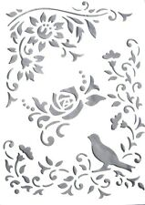 Wall Stencil Pattern Reusable Plastic Template Flower Leaves Bird No 1 + Brush