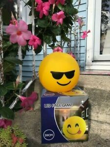 """BLACK SUNGLASSES-LED SMILEY FACE LAMP 8""""ROUND--BATTERY OPERATED-BRAND NEW IN BOX"""
