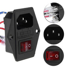 3 in 1  AC Power Outlet Jack Socket Connector With Fuse Power Plug Switch 250V