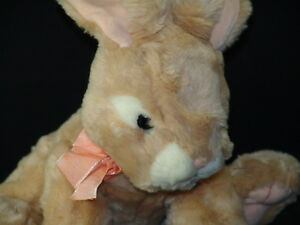 """14"""" PLUSH RUSS PINK BOW EASTER BUNNY RABBIT APRICOT TOY"""