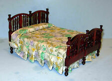VINTAGE MAHOGANY BED WITH BEDDING MINIATURE DOLL HOUSE FURNITURE