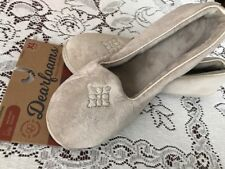 7bd0424d5fae Women Dearfoams Pewter Closed Back Velour Slippers Indoor Outdoor XL 11-12  New
