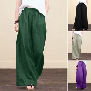 Womens Casual Cotton Linen Baggy Wide Leg Pants Loose Palazzo Flared Trousers