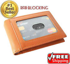 Mens Slim Wallet For Front Pocket with Money Clip RFID Blocking Leather Bifold