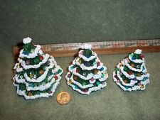 Three Pretty Little Ceramic Christmas Trees / Tree Green Glazed Traditional