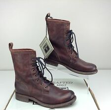 NWOB Frye Jenna Combat 76386 Dark Brown Stone Antiqued Leather Boots Size 8