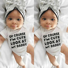 Newborn Infant Baby Girl Boy Short Sleeve Letter Romper Jumpsuit Outfits Clothes