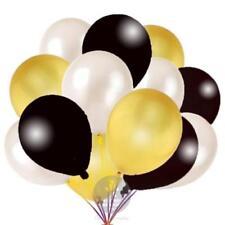 "12"" White Gold Black Assorted Pearl Balloons Matching Baloon Ribbon ribon"