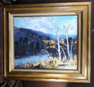 Henrietta Mann Oil Painting American Landscape Rural Art Original Birch Trees