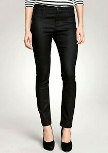 Black Skinny Jeans Womens Stretch Coated Mid Rise Trousers Sizes 8-20 RRP £69.99