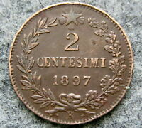 ITALY UMBERTO I 1897 2 CENTESIMI, COPPER