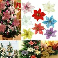 10X Christmas Large 15cm Poinsettia Glitter Flower Tree Hanging Party Xmas Decor