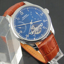 Parnis 43mm Blue dial steel case Power Reserve Automatic ST2505 mens Watch 2044