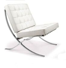 White Barcelona Leather Chair Classic Verison