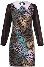 Viscose Animal Print Long Sleeve Plus Size Dresses for Women