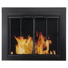 NIB: Nice Small Black-Finish FIREPLACE DOORS w/ Steel Mesh Screen ( Ascot )