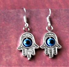 "Hamas Hand Earrings on Silver plate fish hook wire ""545"" Moving Fatima evil eye"