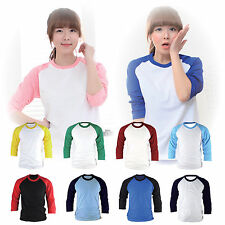 Womens Ladies 3/4 Sleeve Raglan Baseball Shirt Jersey Casual Vintage Tee Top