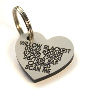 Engraved lightweight durable Plastic Dog ID tag medium heart 30mm x 27mm