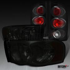 2002-2005 Dodge RAM 1500 2500 3500 Pickup Smoke Headlights+Black Tail Lamps Pair