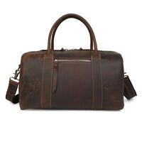Men's Women Leather Shoulder Travel Bag Carry On Handbag Large Gym Duffel Bag
